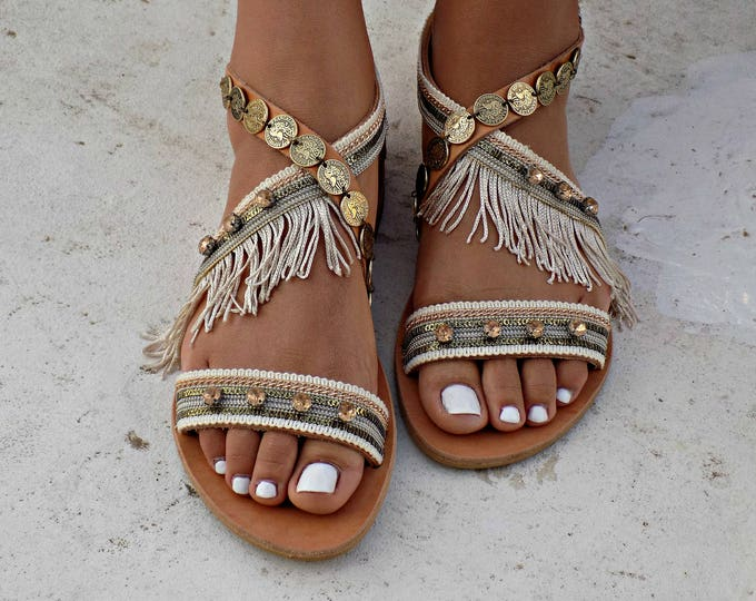 "Handmade Leather Sandals, Women Sandals, Wedding Sandals, Boho Sandals, Swarovski Sandals, Strappy Sandals, Gladiator Sandals ""Ammos"""