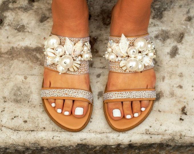 "sandals with pearls, Flat Wedding Sandals, Bridal Sandals, bridal shower gift for bride, Beach wedding sandals, ""Mediterranean"" Sandals"
