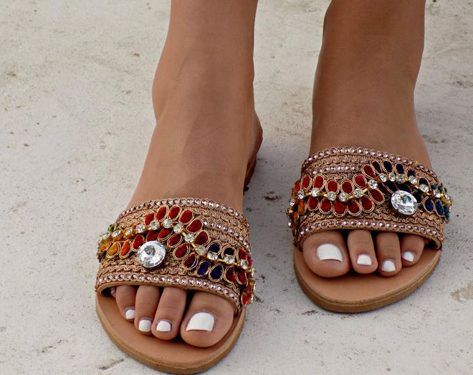 "Greek Leather Sandals, Boho sandals, Gypsy Sandals, Handmade Sandals, Swarovski Sandals, Women Sandals, Boho Flats, Hippie Sandals, ""Aisha"""