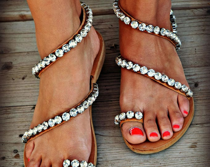 Women Sandals, Wedding Sandals, Handmade  Sandals,  Bridal Sandals, Greek Leather Sandals, Swarovski Sandals, Genuine leather shoes