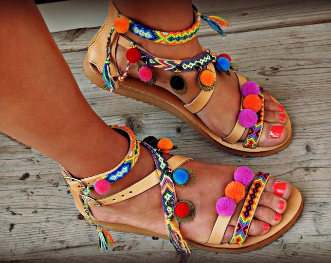 "Handmade Sandals, Greek Leather Sandals, Pom Pom Sandals, Women Sandals, Boho sandals, Gipsy Sandals, Boho Flats, hipplie sandals ""Jasmine"""