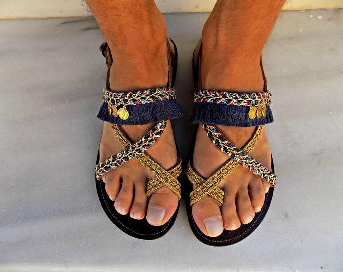 Boho Mens Sandals, Mens Leather Sandals, Handmade leather sandals, Leather Sandals Men, Shoes, Mens Shoes, Greek summer men shoes, men flats