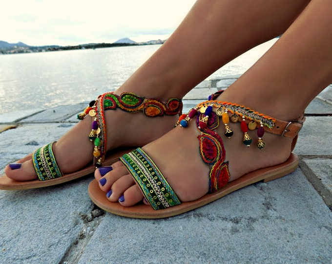 "Handmade leather sandals, Greek leather sandals, Boho sandals, ""Hindi"" sandals, Made to order"