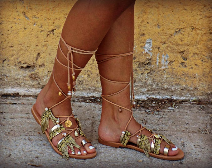 "Gladiator Sandals ""Antiopi"", Handmade Leather Sandals,  Women Sandals, Wedding Sandals, Boho Sandals, Hippie Sandals, Strappy Sandals"