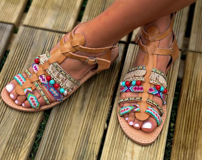 "Handmade Leather Sandals, Artisanal Greek Sandals, Women Sandals, Boho Sandals, Hippie Sandals, Strappy Sandals, Gladiator Sandals ""Athina"""