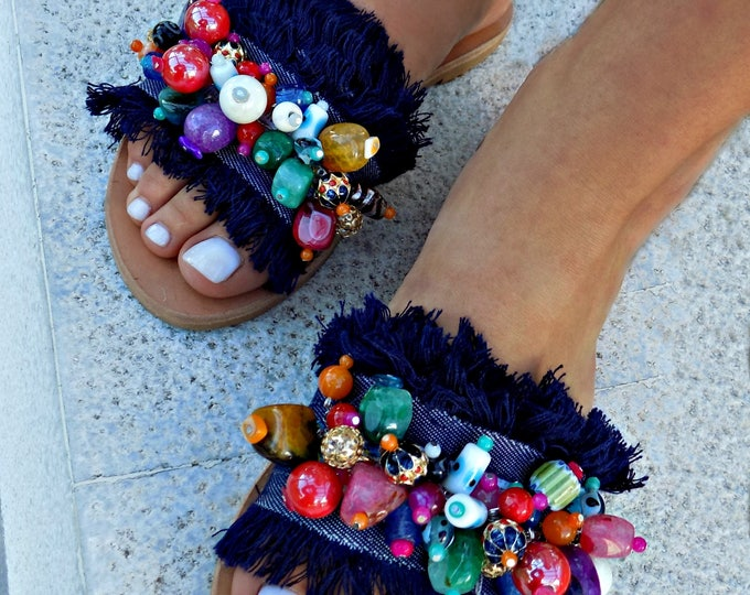 "Greek Leather Sandals Luxurious Sandal Handmade Sandals Boho Sandals  ""Maui"" Sandals, festival sandals, boho sandals, gypsy sandals, slides"