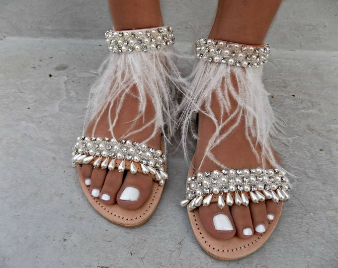 Wedding Sandals, Leather sandals, Handcrafted Greek Sandals, Genuine leather sandals,  Bridal shoes, feather Sandals, Pearl Sandals