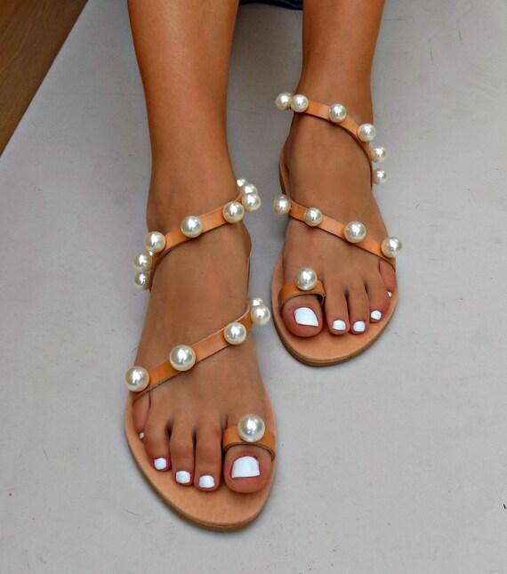 Luxury Boho Leather Sandals Wedding Sandals Sandals Handmade Bridal Sandals Sandals Sandals Sandal Boho Luxurious Greek Pearl qrwnrfaXg