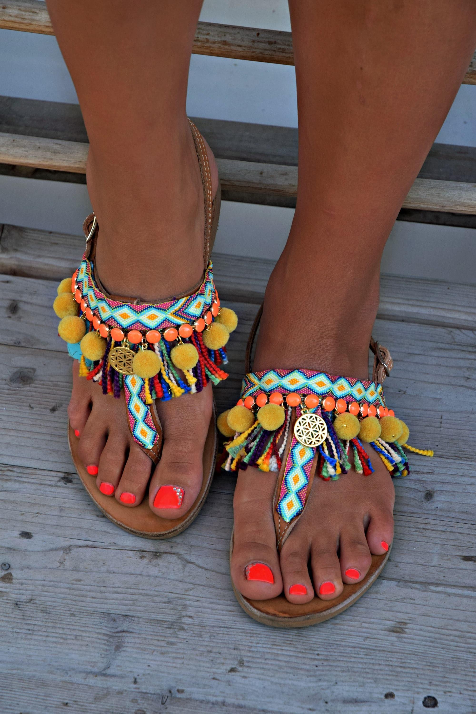 Handmade Sandals Boho Sandals Greek Leather Sandals Pom