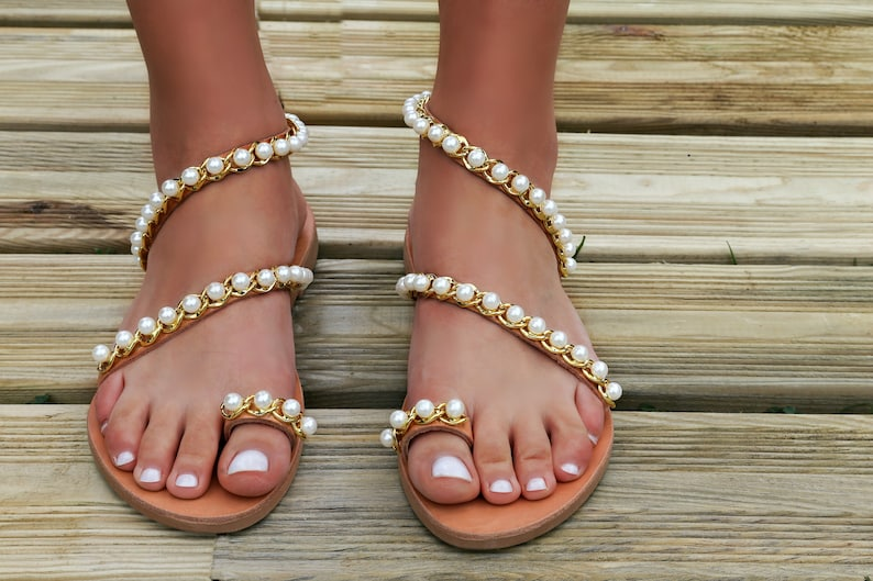 sandals with pearls Pearl Sandals Crystals Wedding Sandals Boho  Beach wedding sandals,bridal shower gift for bride handmade Sandals