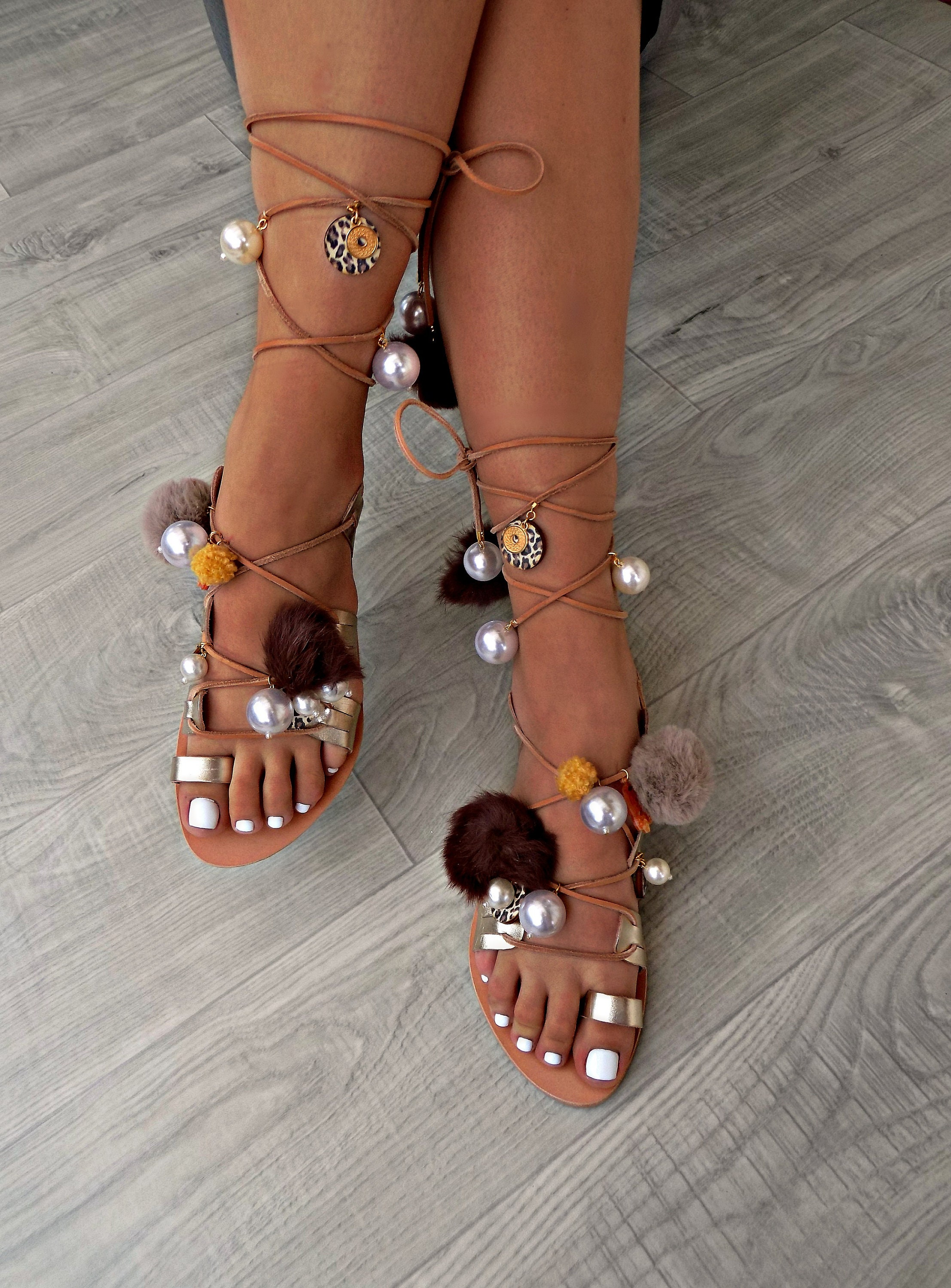 984b79627f8e4 Tie Up Gladiator Sandals, Pom Pom sandals with pearls, Leather lace ...