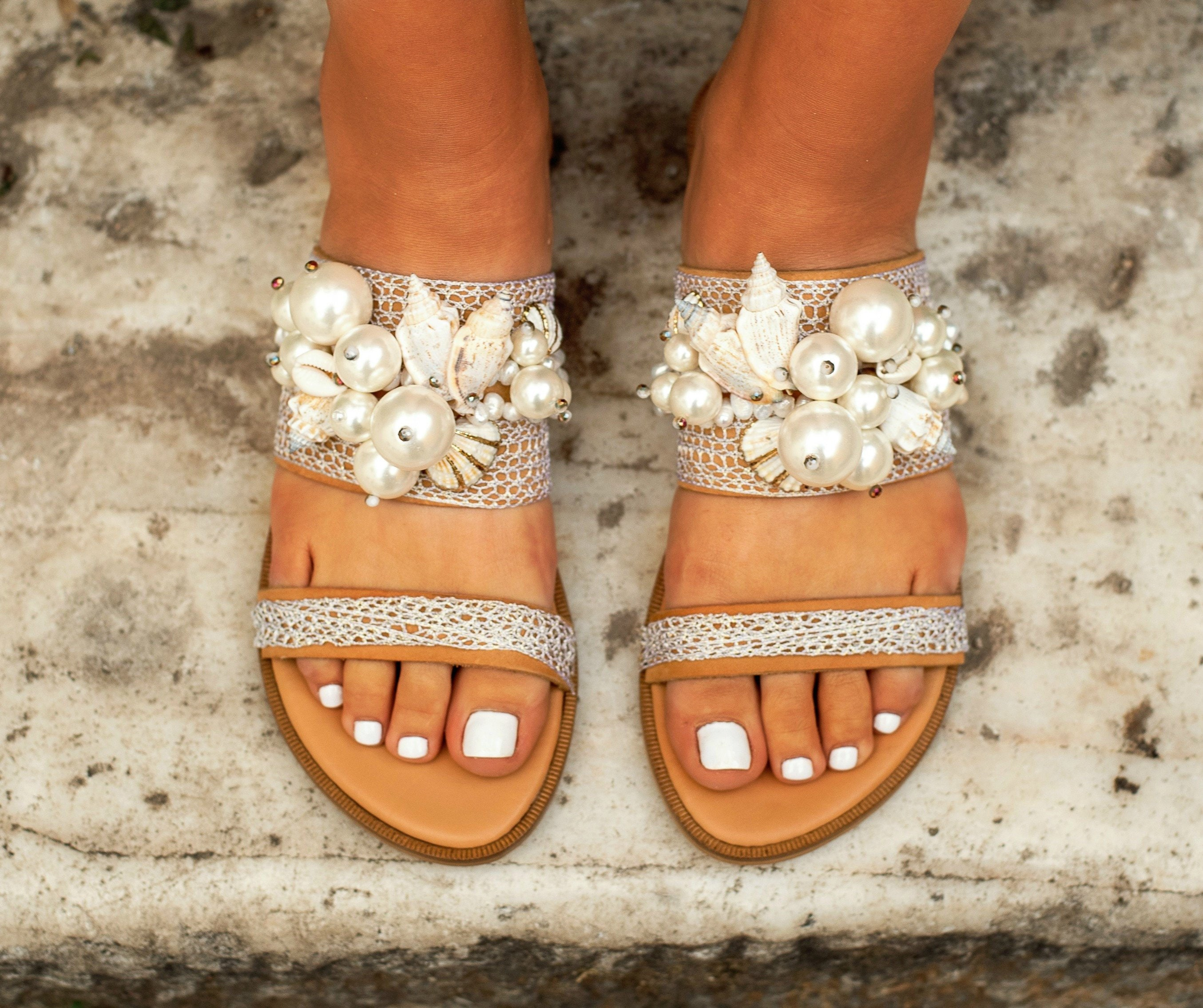 Wedding Sandals For Bride.Sandals With Pearls Flat Wedding Sandals Bridal Sandals Bridal
