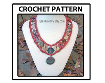 Crochet Inserted Button Necklace Jewelry Pattern