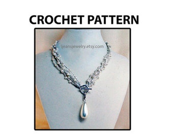 Crochet Bracelet Necklace Jewelry Pearl Bead Pattern