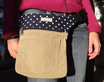 Fanny polka dot Pack, Jeans hip bag, Upcycled jeans pack, Utility belt, Upcycled bag, Purse belt, Festival bag, Travel belt, Festival belt