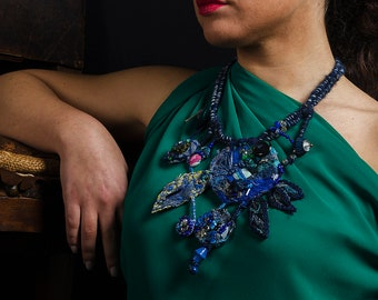 Blue Painted Blue Necklace