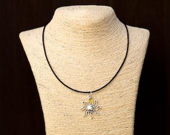 Sun Pendant Necklace With Dainty Yellow Crystal - Sun Jewelry - Sun Charm - Starburst Necklace - Sunshine Pendant - Summer Sun Accessory
