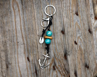 Anchor Keychain - Shell Keychain - Nautical Keychain - Gift for Him - Gift for Her - Gift for Ocean Lover - Sailor Keychain - Mermaid Jewel