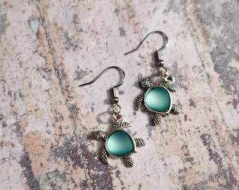 Sea Turtle Dangle Earrings - Beach Babe - Boho Jewelry - Seaglass Charm - Ocean Lover - Handmade Jewelry - GIft for Her - Surf Jewelry