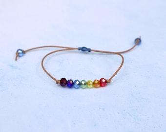 Crystal Rainbow Adjustable Leather Bracelet - Pride Jewelry - LGBTQ Bracelet - 7 Chakra Bracelet - Gift for Her - Kids Jewelry - Festival