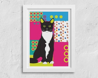 A3 Bright kitty cat print