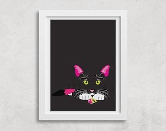 A3 Black Kitty print