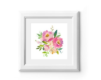 Pink Peach Watercolor Floral Bouquet Printable Wall Art Spring Flowers Digital Print Poster Roses Peonies Instant Download Decor Spring