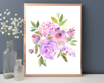 Lilac Pink Watercolor Floral Bouquet Printable Wall Art Spring Flowers Roses Peonies Hidrangea Digital Print Poster Instant Download Decor