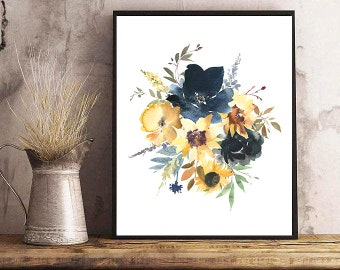 Yellow Navy Watercolor Floral Bouquet Printable Wall Art Summer Flowers Sunflowers Peony Foliage Digital Print Poster Instant Download Decor