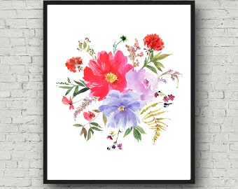 Blue Red Watercolor Floral Bouquet Printable Wall Art Summer Flowers Peonies Berries Foliage Digital Print Poster Instant Download Decor