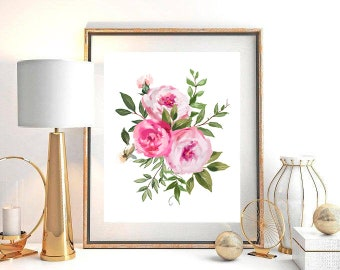 Pink White Watercolour Floral Bouquet Printable Wall Art Spring Flowers Roses Foliage Digital Print Poster For Instant Download Decor