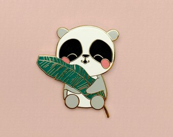 "Panda Holding A Leaf   ""Panda Plant Love Pin""   Pin Flair   Gold Lapel Pin"