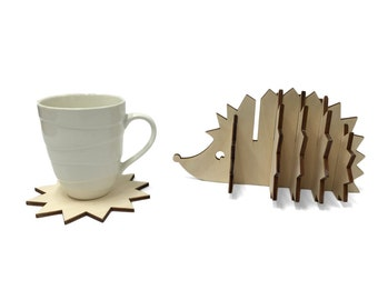 Wooden Hedgehog Coaster Set, Handmade Animal Coasters, Home Decor