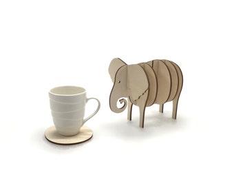 Wooden 3d Elephant Coaster Set, Handmade Animal Coasters, Home Decor
