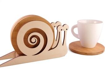 Wooden Snale Coaster Set, Handmade Animal Coasters, Home Decor