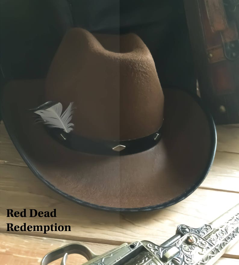 Red Dead Redemption RDR2 Cowboy John Morgan Western Hat with Feather  Halloween Cosplay Costume