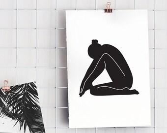 Single Line Art Print : Woman body printable minimal art single line
