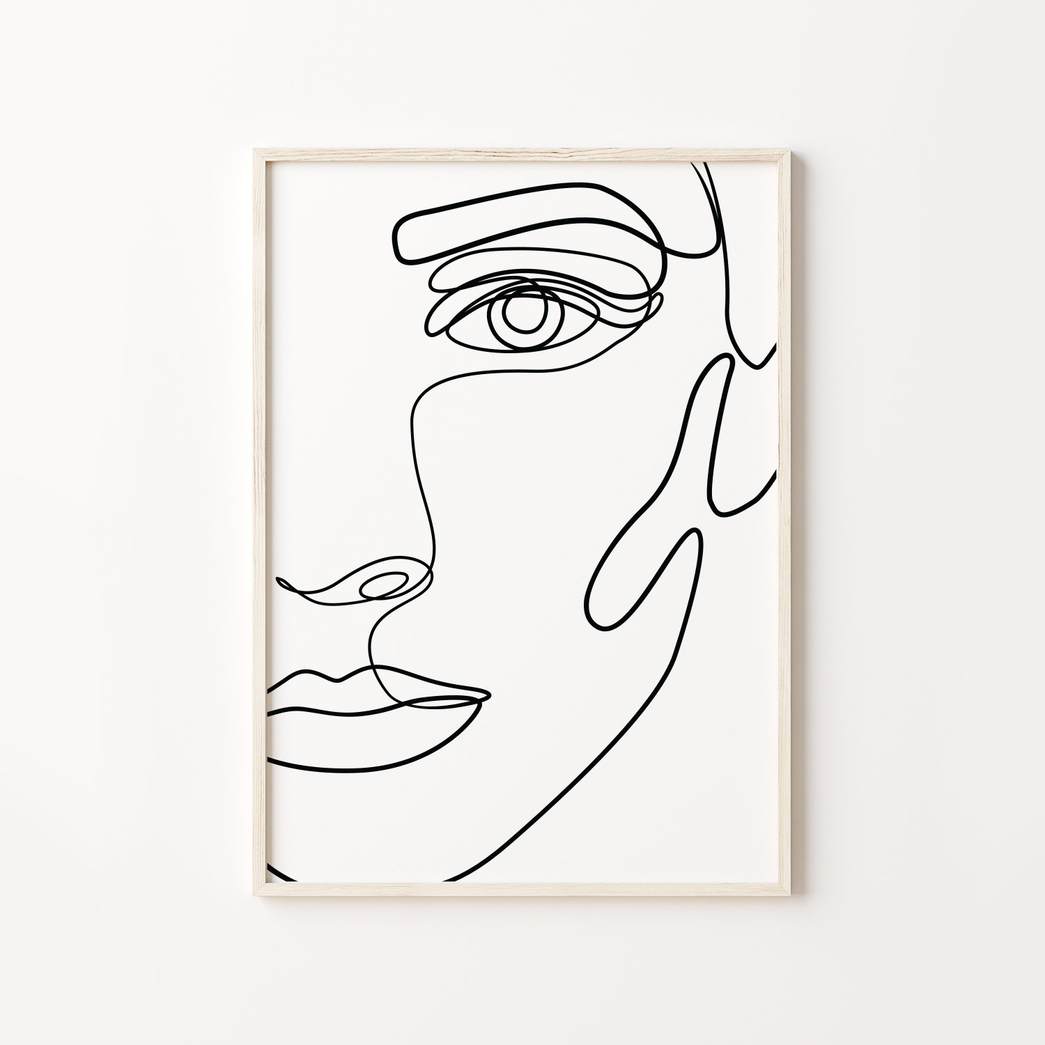 Abstract Face Line Drawing PRINTABLE, Female Form Art Poster, One Line Art,  Female Face Print, Simple Art, Black And White Minimalist Art