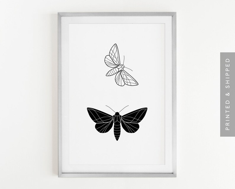 d35f731f8 Night Butterfly Print Butterfly Wall Art Black & White Home | Etsy