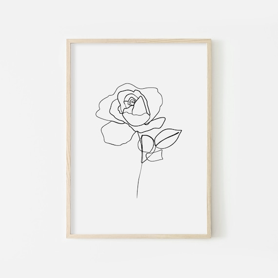 Rose Line Drawing Printable Flower Rose Line Art One Line Etsy The lines drawn in previous steps are shown in gray. rose line drawing printable flower rose line art one line print rose drawing home decor rose sketch art rose poster flowers minimal