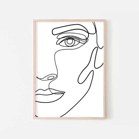 Abstract Face Line Drawing Printable Female Form Art Poster One Line Art Female Face Print Simple Art Black And White Minimalist Art