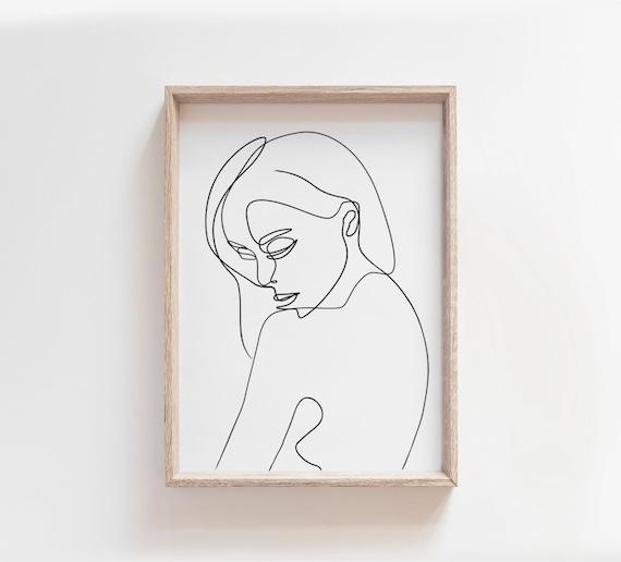 Portrait De Femme Dessin Au Trait Imprimable Seule Ligne Art Etsy