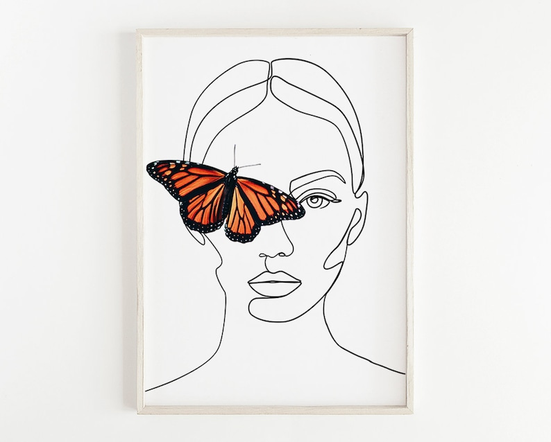 Portrait With Butterfly Printable Line Art Tumblr Woman Face Etsy