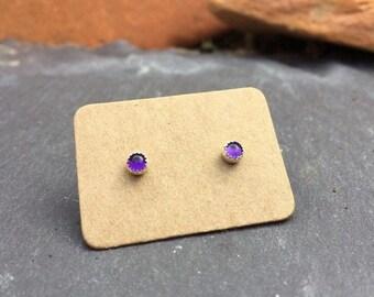 Silver Amethyst Stud Earrings - February Birthstone