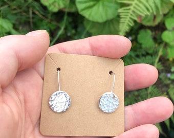 Silver Earrings Circle Disc Earrings