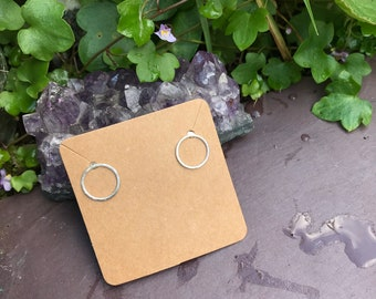 Silver Earrings Halo Circle Studs