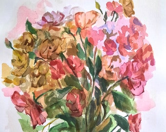 Boho style painting, Watercolor flowers, Flowers painting, Original Watercolor panting, Bouquet, Flowers wall art, Floral illustration