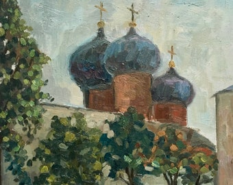 Church painting, Russian Church painting, Orthodox Church Original painting, Oil painting, Landscape painting, Scenery painting