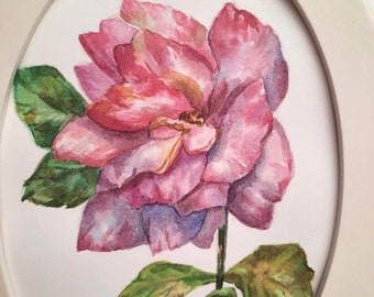 Rose painting, Botanical illustration, Flower painting, Original watercolor painting, Framed painting, Oval painting