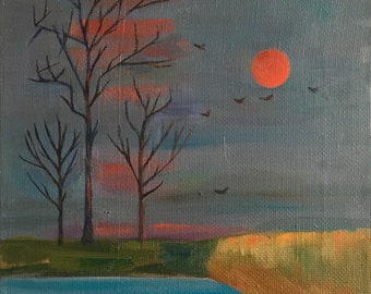 Landscape oil painting, Sun painting, Moody painting, Original oil painting, Oil on canvas, Scenery painting